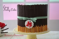 denna's ideas: how to make a Pocky Cake....very fast and easy cake decorating