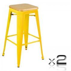 2 x Tolix Replica Metal Steel Bamboo Seat Bar stool 76 cm Yellow Price: $140.95
