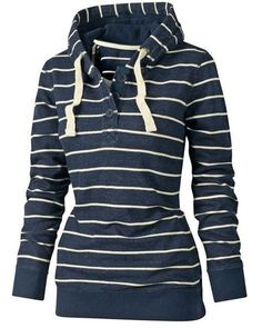"""Cute """"Stylish Hooded Long Sleeve Drawstring Striped Women's Hoodie"""" from Rosegal."""