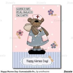 Nurses are real Angels on Earth. Funny Teddy Bear design Happy Nurses Day Customizable Postcards for nurses. Matching Cards in various languages , postage stamps and other products available in the Business Related Holidays / Healthcare Category of our store. Design created using licensed artwork by Alice Smith (www.clipart4resale.com).