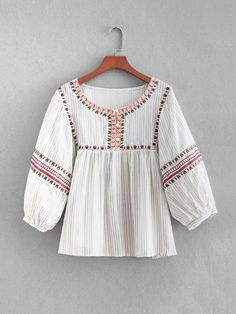 1db33ba81f41ee Embroidered Babydoll Blouse -SheIn(Sheinside) Peasant Blouse, Peasant Tops,  Blouse Online