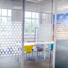 Window Frosted Dots Panel in Office by Vinyl Impression