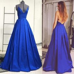 Sexy Royal Blue Prom Dresses Taffeta Backless V Neck Formal Gowns, Party Dresses, Evening Dresses 2017,Women Dresses,Party Dresses