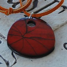 Wood grained pendant leather browns adjustable | daffydill - Jewelry on ArtFire