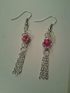Pretty caged bead earrings