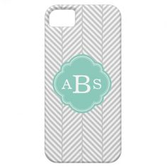 Gray & Aqua Chic Herringbone Custom Monogram iPhone 5 Cover
