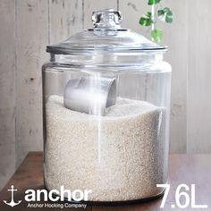 【送料無料】アンカーホッキング社「ガラスジャー7.6L」ライスジャー/お米米びつ保存容器【02P10Jan15】