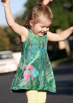 felted unique designer dress little girl 3D décor fiber art wear dress special
