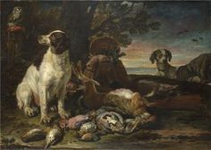 High Quality Polyster Canvas ,the Reproductions Art Decorative Prints On Canvas Of Oil Painting 'David De Coninck - Dead Birds And Game With Gun Dogs And A Little Owl,about 1672-94', 8x11 Inch / 20x29 Cm Is Best For Hallway Decoration And Home Gallery Art And Gifts -- You can find more details by visiting the image link.