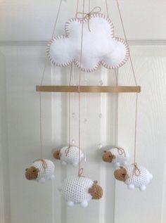 Baby Mobile Lamb Mobile Nursery Mobile by EllaLeeRoseOriginals