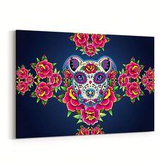Sugar Skull Pitbull Canvas Print - GearBunch Leggings / Yoga Pants dyi art canvas, map canvas, photos to canvas diy Canvas Frame, Canvas Wall Art, Canvas Prints, Canvas Canvas, Colorful Paintings, Fall Paintings, Canvas Paintings, How To Make Canvas, Vinyl Collection