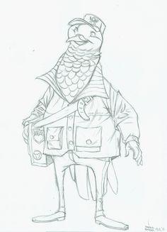 Brieftaube #skizze #pencilsketch #character #comic #bird #bleistiftskizze