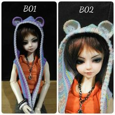Ball-jointed doll Hooded Cowl scarf hat bear MSD size