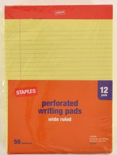 """Office 1200 STAPLES Canary Writing Note Pad  8.5"""" x 11.75""""  24 x 50 Sheets 23704 #STAPLES"""