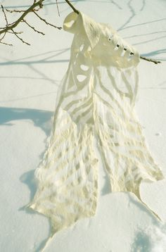 Wool nuno felted scarf White Summer wind by JaneBoFelt on Etsy, $59.00