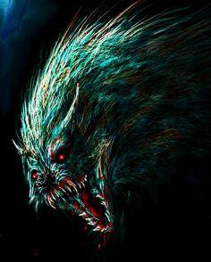 Dark Artwork, 3d Artwork, Fantasy Artwork, Dark Drawings, Cool Drawings, Anime Wolf, Creatures Of The Night, Dog Teeth, Cute Animal Drawings