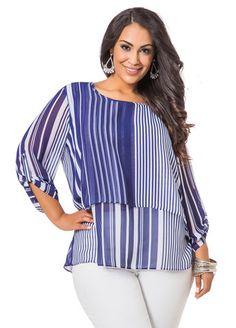21ef23cc5d238a Ashley Stewart Striped Layered Tunic Ashley Stewart, Curvy Outfits, Plus  Fashion, Plus Size