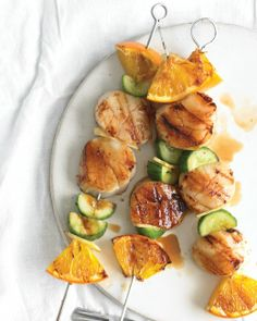 Scallop, Orange and Cucumber Kebabs.  Scallops go fantastic with orange.. so beautiful and a flavorful treat.