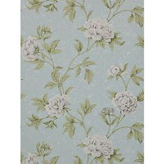 A romantically soft floral developed from a hand painted silk fragment. The gently eroded nature of this paper is in keeping with the Swedish theme.Extra wide: call for quantity advice. Green Wallpaper, Room Wallpaper, Pattern Books, Pattern Paper, Colefax And Fowler Wallpaper, True Colors, Colours, Old Room, Blue Wallpapers