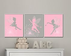 Fairy Nursery Art print, Baby Girl Pink and Grey Fairy Art, Girls Bedroom Decor- H237 - Custom Color-Unframed  This listing is for 3 art prints only - frame not included.  These prints are professionally printed on high quality heavyweight matte paper with archival inks. Please be aware
