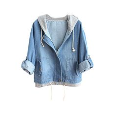 Drawstring Hooded Denim Coat (€26) ❤ liked on Polyvore featuring outerwear, coats, jackets, tops, long sleeve coat, hooded coat, denim coat, button coat and blue coat