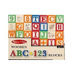 A B C Numbers Alphabet Blocks 50-piece Wooden ABC/123  #MelissaDoug