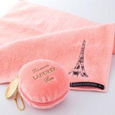 マカロンポーチ・ミニタオルセット: the macaron puch and mini towl by LADUREE Paris Love, Paris Paris, Paris France, Givenchy, Hermes, Paris Theme, Dior, Powder Puff, Everything Pink