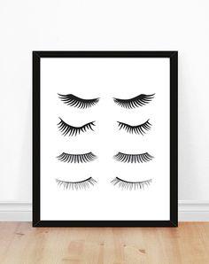 Eyelashes print  Makeup Art Print  Bathroom Art  por bonmotprints