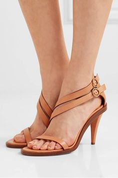 Heel measures approximately 90mm/ 3.5 inches Tan leather Buckle-fastening ankle strap Designer color: Misty Beige Made in Italy