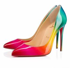 Christian Louboutin United States Official Online Boutique - Pigalle Follies 100 Multi Patent Rainbow available online. Discover more Women Shoes by Christian Louboutin Patent Heels, Women's Pumps, Stilettos, Stiletto Heels, High Heels, Black Heels, Louboutin Online, Red Louboutin, Rainbow Heels