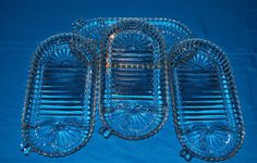 4 Anchor Hocking Clear Snack Plates- Sushi Plates $16.00 thecraftstar, anchor hocking, vintage dishes, sushi plates, snack plates, online shopping, small business