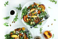Grilled Peach and Sweet Potato Salad with Honey Balsamic Vinaigrette (summer salad recipe) by www.droolworthydaily.com