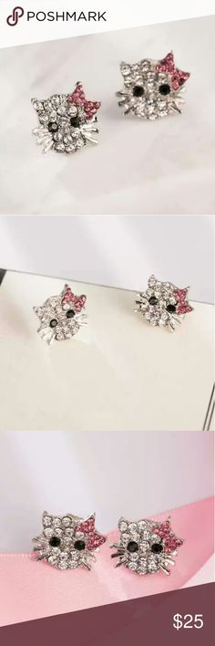 Silve Cute Hello Kitty Girl Earrings Earring Type: Stud Earrings Shape/pattern:Cat Style: Trendy Metal Type: Zinc,Alloy Gender :Women,Girls Material Zinc,alloy Hello Kitty Jewelry Earrings