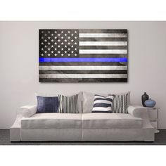 Thin Blue Line Flag Canvas Thin Blue Line Canvas Gift for Police... ($59) ❤ liked on Polyvore featuring home, home decor, grey, home & living, home décor, gray home decor, blue home accessories, canvas home decor, american flag home decor and grey home decor