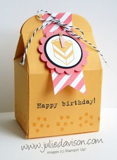Party with Cake Baker's Box for birthday treat or gift NEW In Colors #stampinup www.juliedavison.com