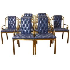 Set of Eight Mastercraft Greek Key Leather Dining Chairs, ca.1960's