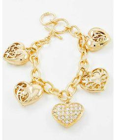 433091 Gold Tone Metal / Clear Rhinestone / Lead&nickel Compliant / Heart Charm / Filigree / Toggle Closure Bracelet