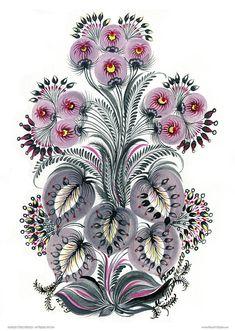 Purple Mood Painting by Olena Kulyk Folk Art Flowers, Flower Art, Seascape Art, Scandinavian Folk Art, Ukrainian Art, Amazing Paintings, Flower Wallpaper, Fabric Painting, Animal Paintings