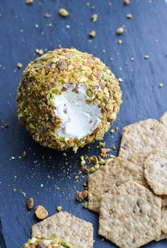 Cheese balls can feel really fancy, but they take seriously no time flat to make. If you don't mind splurging for a couple ingredients, this is a great thing to bring to a party or put out first when you're hosting something that wants to feel a tiny bit swanky. GOAT CHEESE & PISTACHIO CHEESE...