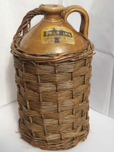 Rare c1900s Large Antique Swan Ink Stoneware Flagon in Wicker Basket-Mabie Todd