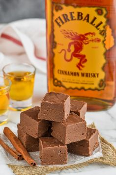 This easy Fireball Fudge Recipe is the perfect recipe to make for the holidays or anytime! An easy fudge recipe made with condensed milk and a few other ingredients that is perfect for the cinnamon whiskey lover in your life! Red Wine Chocolate Cake, Easy Chocolate Fudge, Easy Fudge, Homemade Chocolate, Chocolate Recipes, Chocolate Deserts, Best Fudge Recipe, Fudge Recipes, Candy Recipes