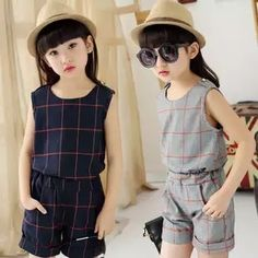 Cheap girls clothing sets, Buy Quality conjunto menina directly from China clothing sets Suppliers: Year Conjunto Menina Clothes Sets for Teenager Girls Fashion Sleeveless Plaid Top + Pocket Shorts Girls Clothing Sets Teenage Girl Outfits, Girls Summer Outfits, Dresses Kids Girl, Little Girl Outfits, Kids Outfits, Short Fille, Traje Casual, Girl Dress Patterns, Kind Mode