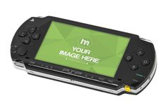 A perspective view of a Sony portable PSP game console on a white background. Upload your own image to the device screen and showcase your advertisement or an old classic game.