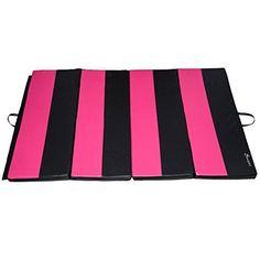 Soozier PU Leather Gymnastics Tumbling/Martial Arts Folding Mat, Pink/Black, 4 x - http://sports.goshoppins.com/exercise-fitness-equipment/soozier-pu-leather-gymnastics-tumblingmartial-arts-folding-mat-pinkblack-4-x/