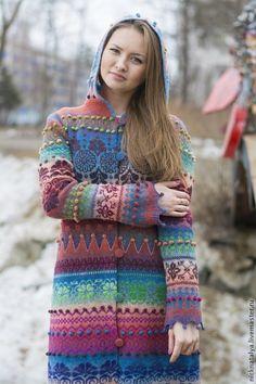 """Пальто вязаное """"Краски. Апрель"""" - вязаное пальто,шерстяное пальто,Авторское вязание"""
