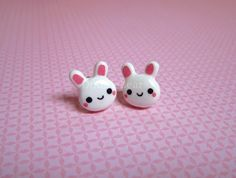White Bunny Rabbit Cute Kawaii Earring Studs  by DoodieBear, $9.00