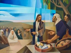 Jesus feeding a multitude. Art by Jorge Cocco. Oil on canvas 30x40 in. 2016 art and prints available at www.jorgecocco.com