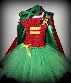Batman Robin tutu dress costume with cape by SixChicKidsBoutique