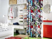 IKEA: ALGOT Wall upright/shelves/rod for against-the-wall storage, covered with a patterned curtain that brings color into the room. Ikea Algot, Ikea Bedroom Furniture, Ikea Bedroom Storage, Find Furniture, Attic Bedrooms, Home Bedroom, Bedroom Decor, Whimsical Bedroom, Ikea Closet