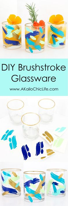 Make your own brushstroke glasses without paint. These DIY abstract art drinking glasses were made using vinyl and a silhouette cameo.